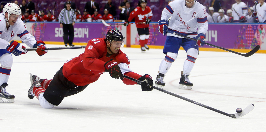 . Canada\'s Rick Nash (61) takes a shot against Norway in the third period for their preliminary round at the Bolshoy Ice Dome for the 2014 Winter Olympics in Sochi, Russia on Thursday, Feb. 13, 2014.  (Nhat V. Meyer/Bay Area News Group)