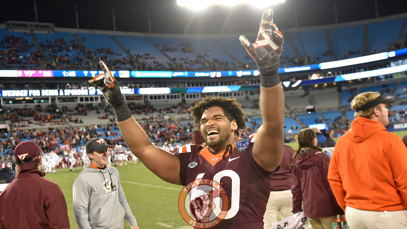 Virginia Tech defensive tackle Woody Baron (60) celebrates during the final minute. (Michael Shroyer/ TheKeyPlay.com)