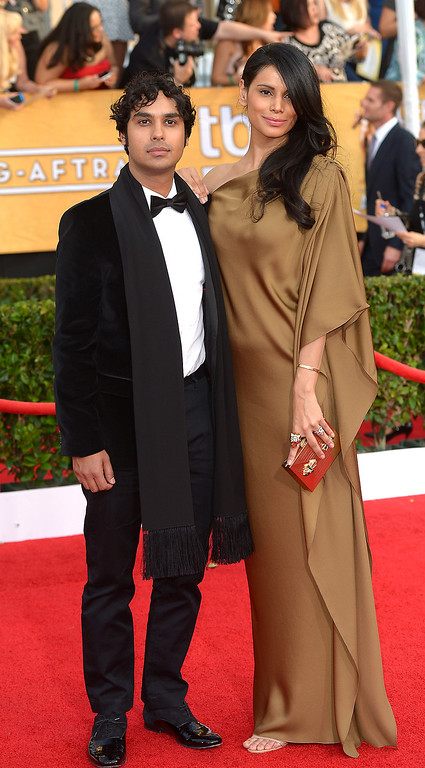 . Kunal Nayyar and guest arrives at the 20th Annual Screen Actors Guild Awards  at the Shrine Auditorium in Los Angeles, California on Saturday January 18, 2014 (Photo by Michael Owen Baker / Los Angeles Daily News)