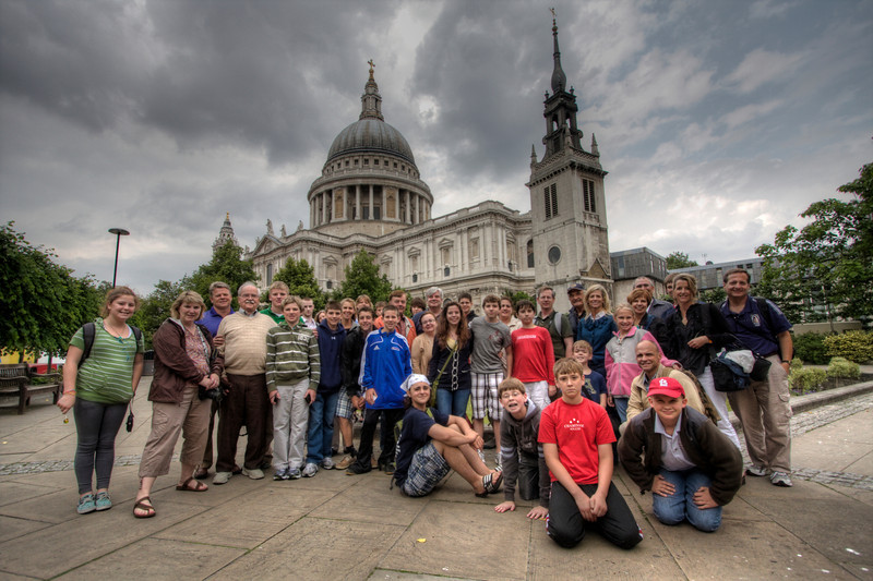 WWII Experience Travelers pose for a group shot in front of St. Paul's Cathedral. London, UK. (HDR)