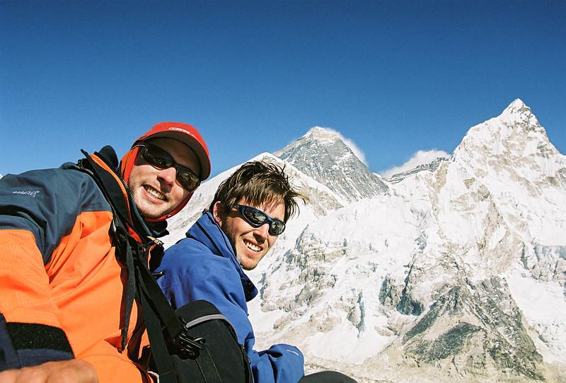Me and Richard atop Kala Patthar (5545m), Mt Everest and Nuptse behind