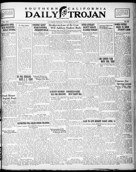 Southern California Daily Trojan, Vol. 21, No. 109, March 25, 1930