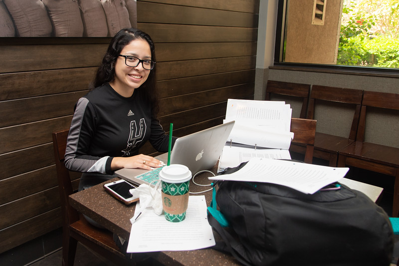 Isabel Zapata works on her Classroom Management at the Starbucks on campus.