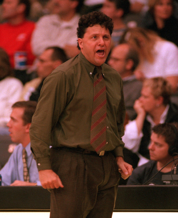 . Oakland University mens\' basketball head coach Greg Kampe reacts to a ref\'s foul call on his team during second half action against Illinois State University, Sunday, November 21, 1999.