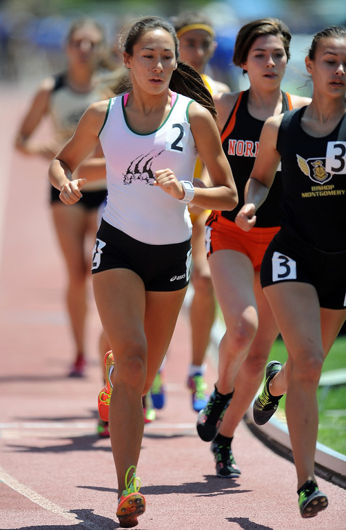 . Bonita\'s Marissa Scott in the 1600 meters race during the CIF-SS track & Field championship finals in Hilmer Stadium on the campus of Mt. San Antonio College on Saturday, May 18, 2013 in Walnut, Calif.  (Keith Birmingham Pasadena Star-News)
