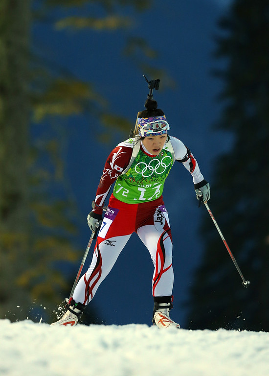 . Yuki Nakajima of Japan competes during the Biathlon Women\'s 4 x 6 km Relay on day 14 of the Sochi 2014 Winter Olympics at Laura Cross-country Ski & Biathlon Center on February 21, 2014 in Sochi, Russia.  (Photo by Robert Cianflone/Getty Images)