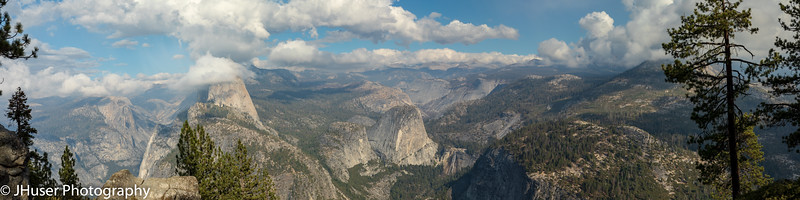 Panoramic view of Half Dome from Glacier Point in Yosemite NP