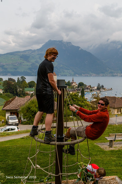 Lachlan and Fraser on a playground in Spiez