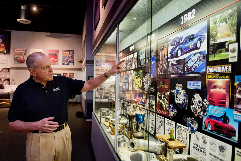 . Gale Banks, owner of Gale Banks Engineering, gives a tour of his exhibit at the NHRA museum in Pomona on Thursday, July 22, 2013. Gale Banks is celebrating 55 years in business. The manufacturing and engineering company produces products for high-performance cars and trucks. (SGN/Staff photo by Watchara Phomicinda)