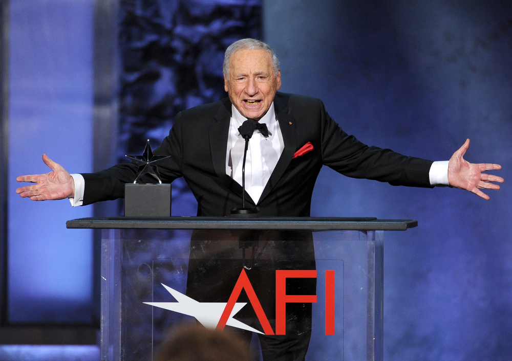 . Honoree Mel Brooks speaks onstage during the 41st AFI Life Achievement Award Honoring Mel Brooks at Dolby Theatre on June 6, 2013 in Hollywood, California. Special Broadcast will air Saturday, June 15 at 9:00 P.M. ET/PT on TNT and Wednesday, July 24 on TCM as part of an All-Night Tribute to Brooks.  (Photo by Kevin Winter/Getty Images)