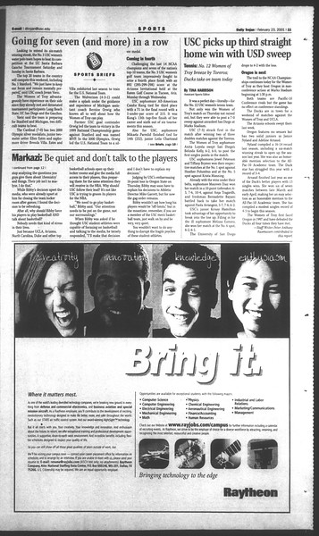 Daily Trojan, Vol. 142, No. 30, February 23, 2001