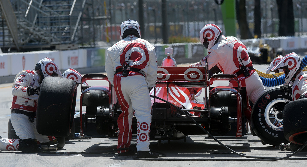 . Scott Dixon makes his first pit stop of the race Sunday. Scott Dixon (9) wins the Toyota Grand Prix of Long Beach Sunday April 19, 2015.  (Will Lester/Staff Photographer)