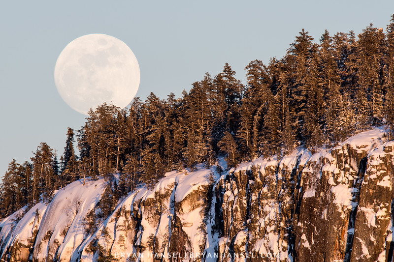Full Snow Moon Above the Cliffs of Clearwater Lake