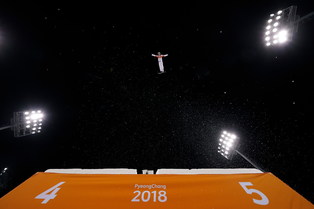 . Jia Zongyang, of China, jumps during a training run prior to the men\'s aerial final at Phoenix Snow Park at the 2018 Winter Olympics in Pyeongchang, South Korea, Sunday, Feb. 18, 2018. (AP Photo/Gregory Bull)