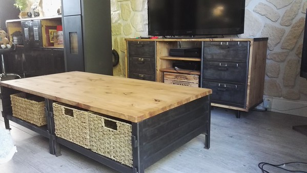 Double table basse casier métal