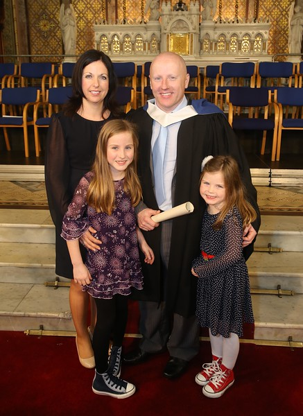 Waterford Institute of Technology Conferring. Pictured is Ray Kelly, Tramore who graduated Bachelor of Science in Good Manufacturing Practice and Technology with his family, wife Rose, children, Abby and Rache. Picture: Patrick Browne.