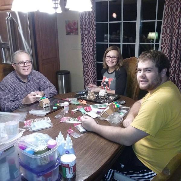Christmas 2016 - a making gingerbread village -- Dad, Elizabeth and John R.