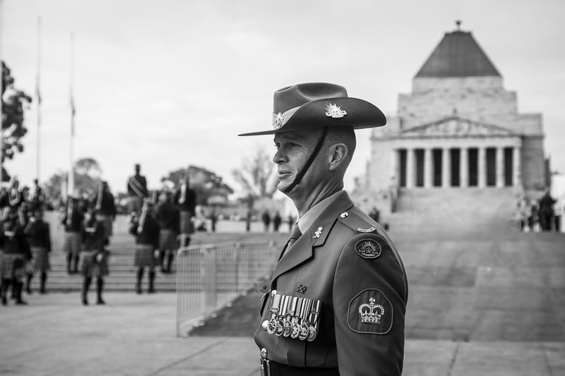 Soldier at ANZAC Day Parade in Melbourne