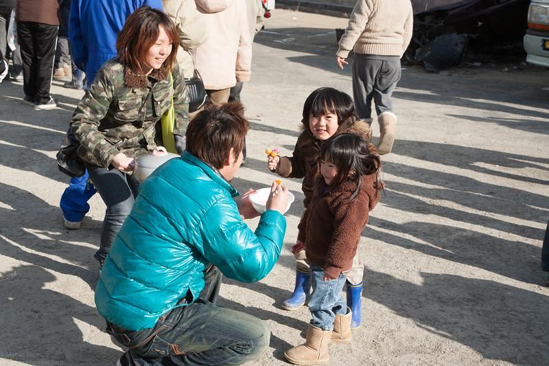 Happy childern eating 豚汁 Tonjiru soup.