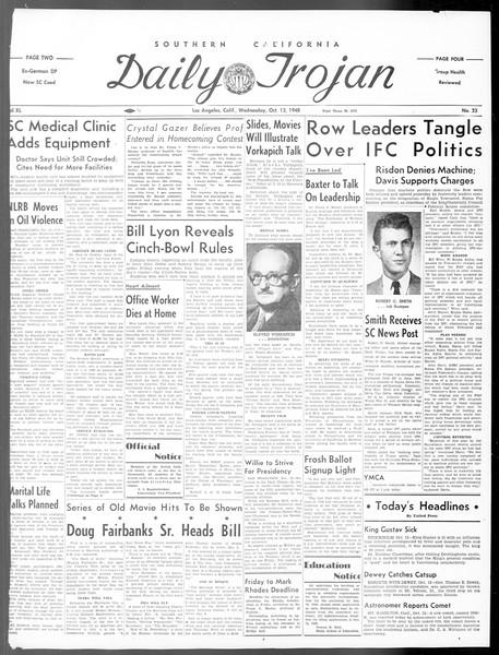 Daily Trojan, Vol. 40, No. 23, October 13, 1948
