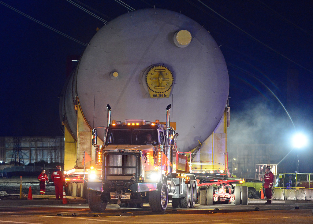 . Two huge 500,000 pound coke drums units were transported from King Harbor in Redondo Beach to Chevron refinery in El Segundo Wednesday and early Thursday morning, forcing the closure of Sepulveda Blvd.  The second drum leaves the lot where it sat after unloading them from barges in King Harbor. 20130221 Photo by Steve McCrank / Staff Photographer