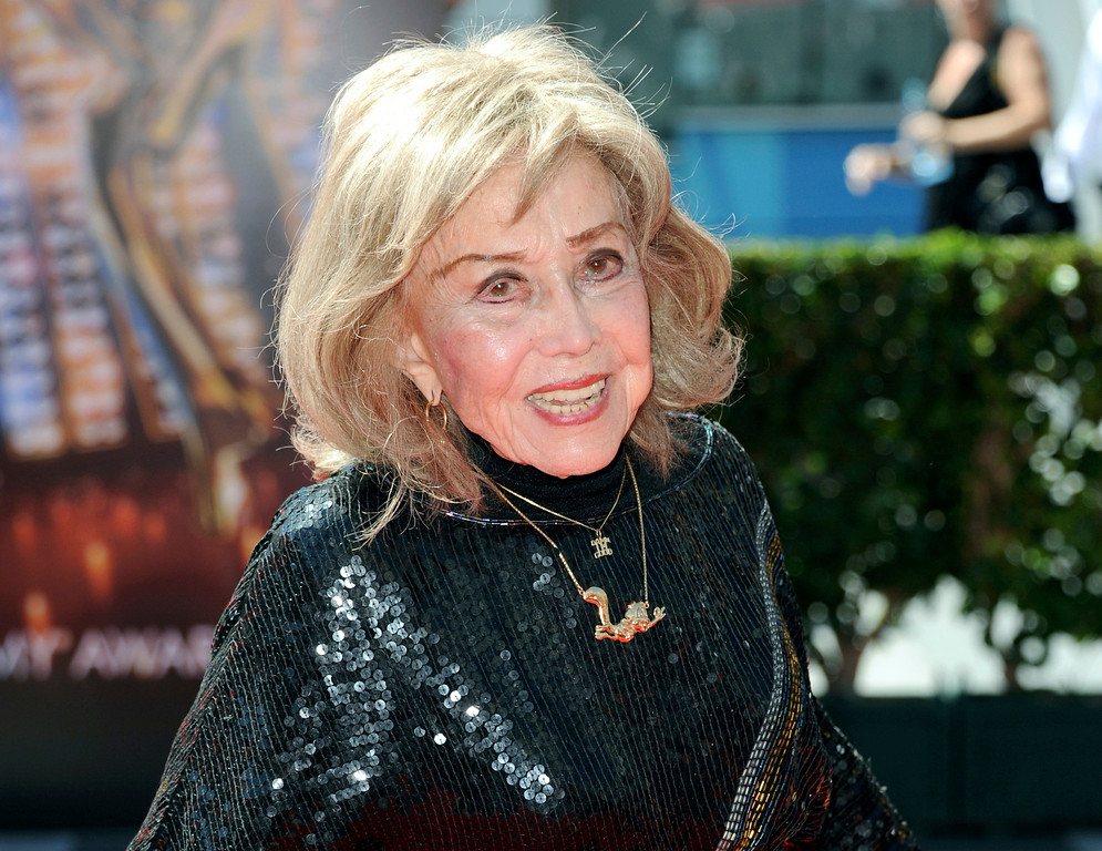 . In this Sept. 15, 2013 file photo, June Foray arrives at the Primetime Creative Arts Emmy Awards at the then Nokia Theatre L.A. Live, in Los Angeles. Foray\'s niece, Robin Thaler, said Thursday, July 27, 2017, that Foray died at Wednesday in a Los Angeles hospital of cardiac arrest. She was 99. (Photo by Richard Shotwell/Invision/AP, File)