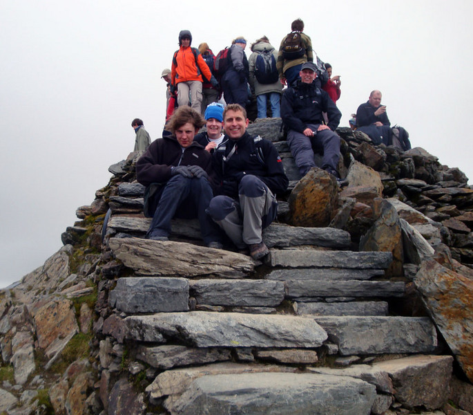 At last, Snowdon's summit: 1,085 m. The highest point in Wales is very popular.