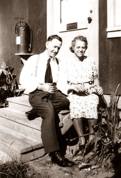 Elmer and Goldie Hopkins on the back porch at 2550 Orange Street, Martinez, California in about 1942.