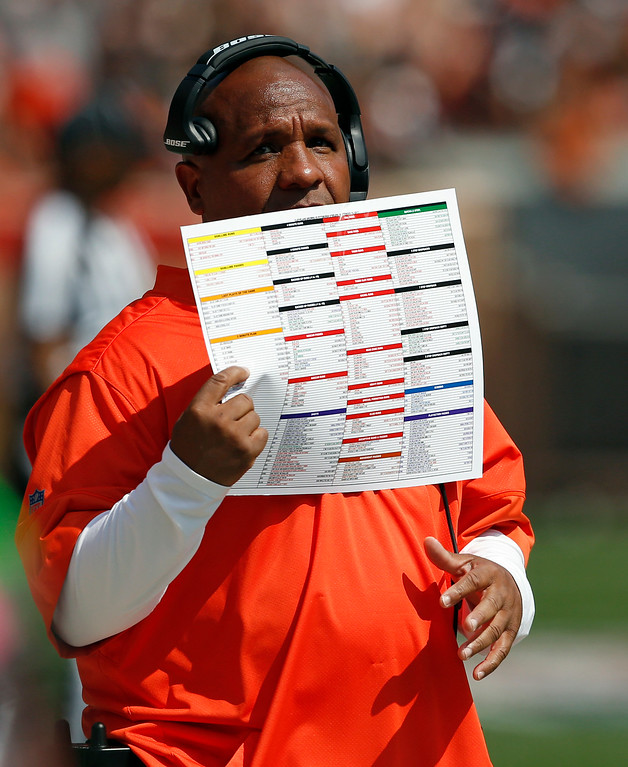 . Cleveland Browns head coach Hue Jackson watches during the first half of an NFL football game against the Pittsburgh Steelers, Sunday, Sept. 10, 2017, in Cleveland. (AP Photo/Ron Schwane)