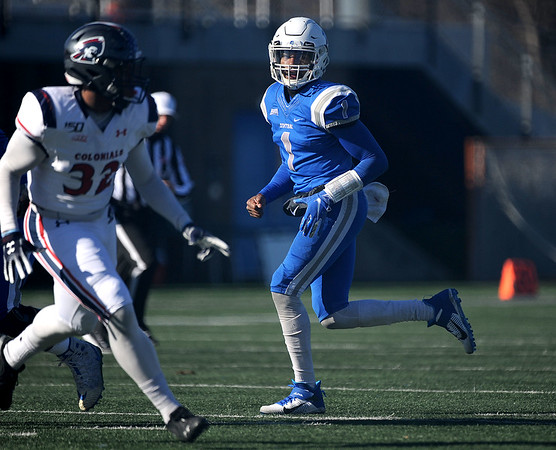 11/16/2019 Mike Orazzi | StaffrCentral Connecticut State University's Aaron Winchester (1) against Robert Morris University at Saturday's football game in New Britain. r