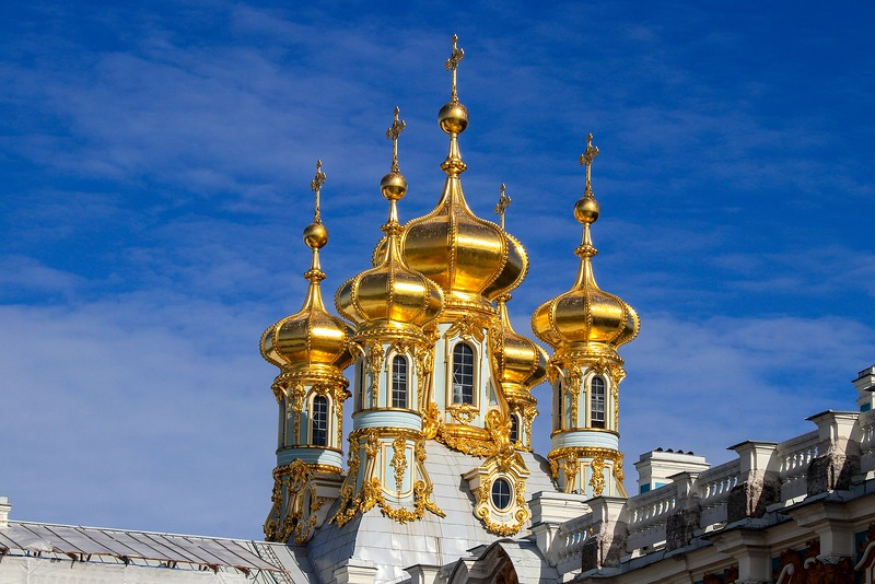 Solid gold domes at Catherine palace.