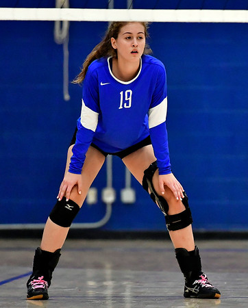 10/25/2018 Mike Orazzi | Staff Plainville's Wiktoria Galazyn (19) during a loss to Kennedy during girls volleyball in Plainville Thursday night.