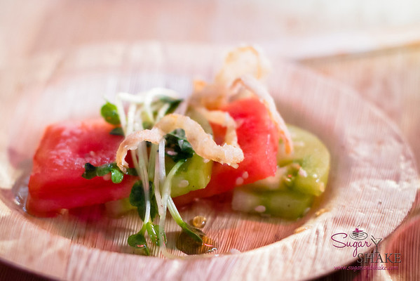 Kā'anapali 5-0 Dinner: Compressed Watermelon & Green Tomato Sashimi, Kaiware Sprout Salad with Maui Onion Crisp & Shiso-Shoyu Syrup. © 2013 Sugar + Shake
