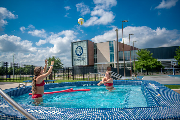 M21086- Campus Rec Pool, Lifeguards playing