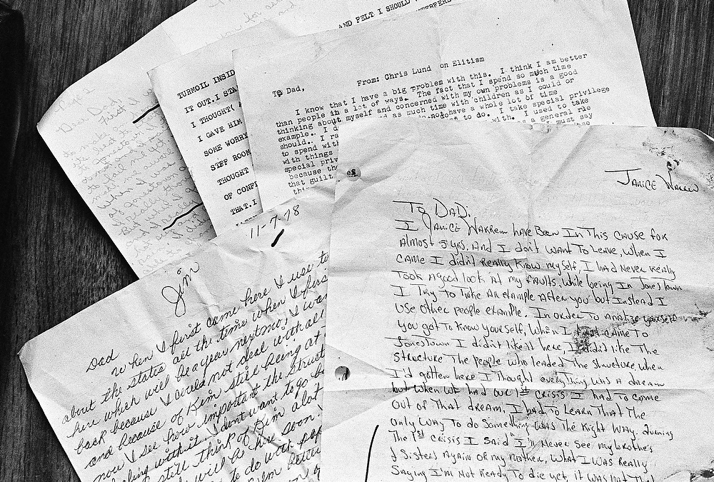 Description of . Some of the letters found outside the home of Jim Jones, where a mass suicide claimed more than 900 lives, Nov. 26, 1978, Jonestown, Guyana. (AP Photo/Ray Stubblebine)