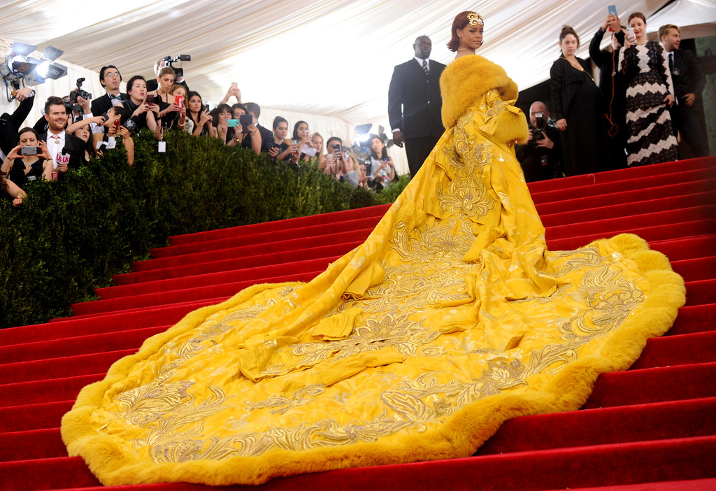 """. Rihanna arrives at The Metropolitan Museum of Art\'s Costume Institute benefit gala celebrating \""""China: Through the Looking Glass\"""" on Monday, May 4, 2015, in New York. (Photo by Charles Sykes/Invision/AP)"""