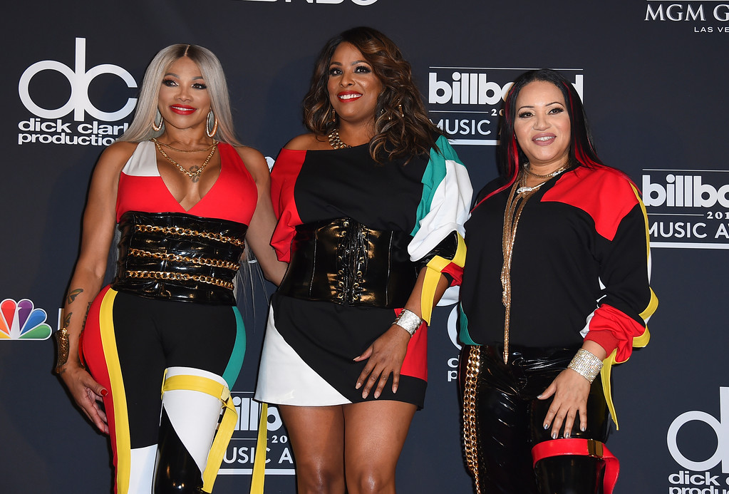 . Sandra Jacqueline Denton, also known as Pepa, from left, DJ Spinderella, and Cheryl Renee James, also known as Salt, of the musical group Salt-N-Pepa, pose in the press room at the Billboard Music Awards at the MGM Grand Garden Arena on Sunday, May 20, 2018, in Las Vegas. (Photo by Jordan Strauss/Invision/AP)