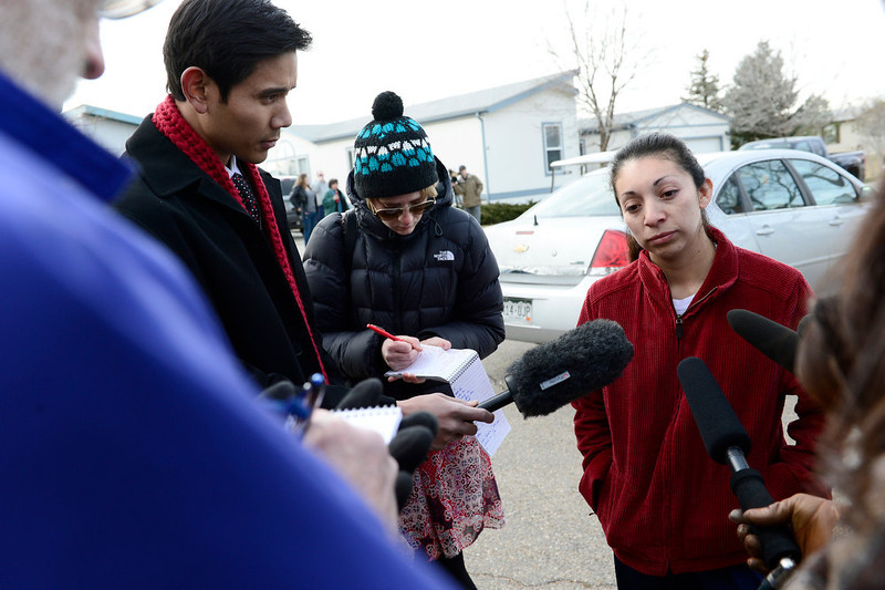 . Eddy Silva, of Longmont, talks to the media, Tuesday, Dec. 18, 2012, in Longmont. 2 of the women killed were her nieces. (Matthew Jonas/Times-Call)