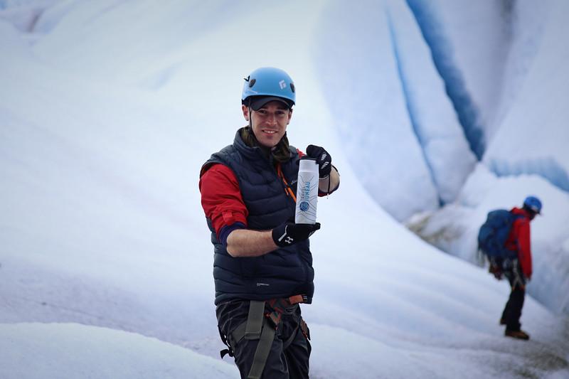 Drinking glacier water in Alaska