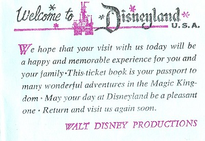 Disneyland E Ticket Book from late 1960's