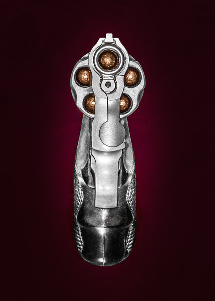 Head-on view of a .38 revolver.