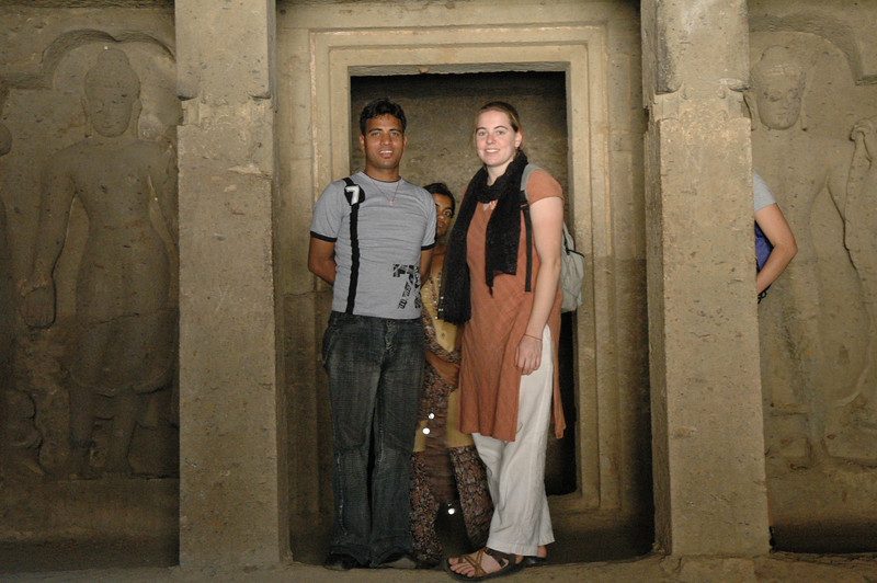 Dilip and Cheryl inside a temple at the Kanheri Caves