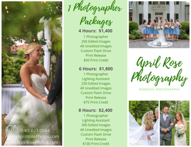 Wedding Photography Pricing Sheets