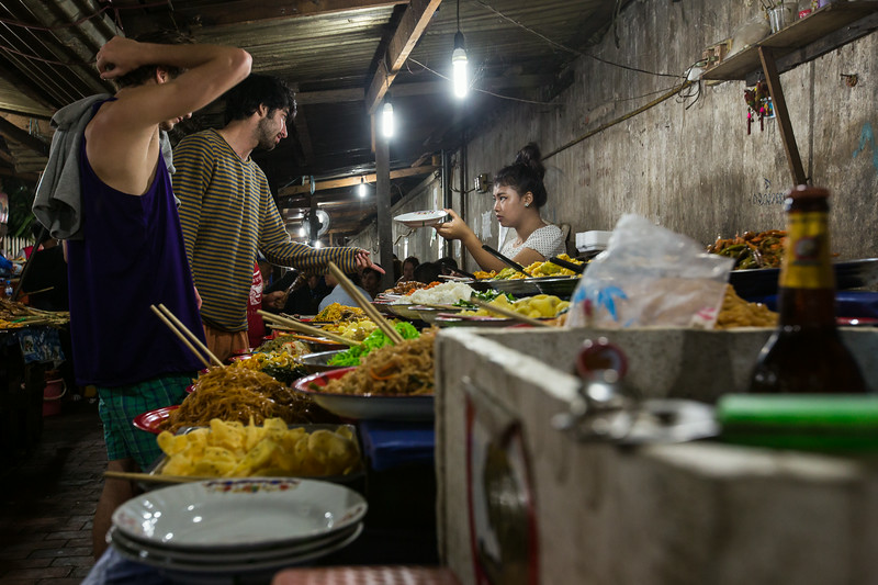 Dinner buffet in Luang Prabang