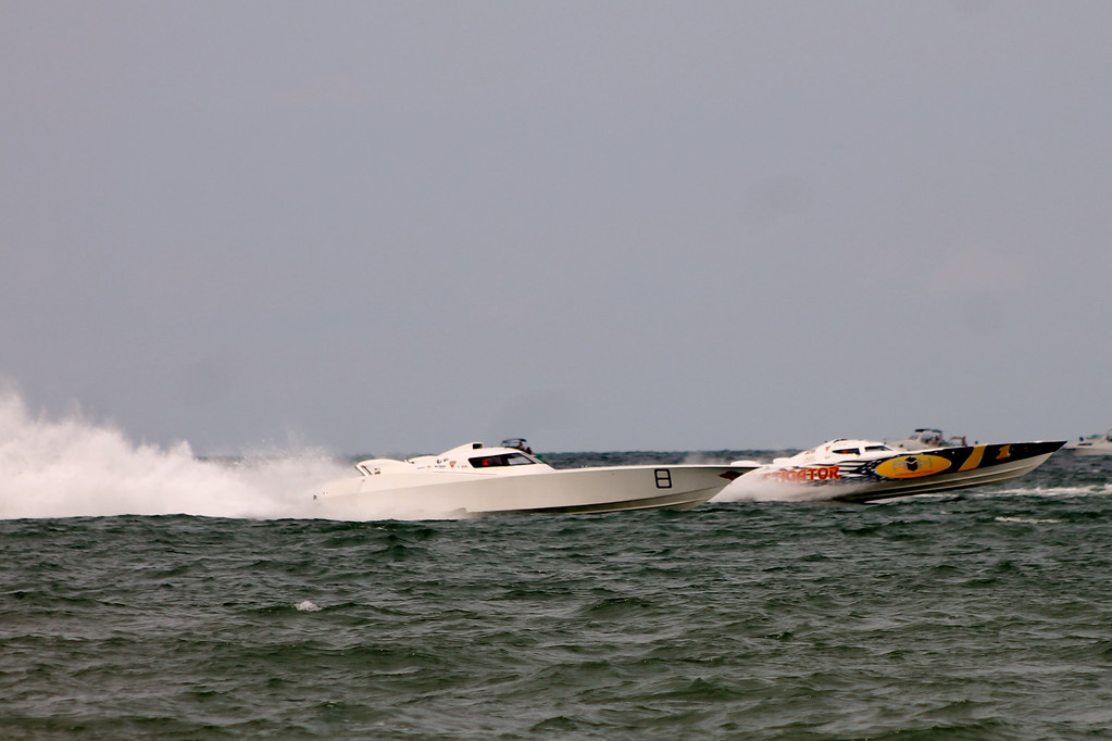 . Super boats race across Lake Erie during the 2017 Mentor Super Boat Grand Prix at Headlands Beach State Park. The offshore racing returns to Lake County July 20-22. For more information, visit offshoreracingmentor.com. (Kristi Garabrandt/The News-Herald)