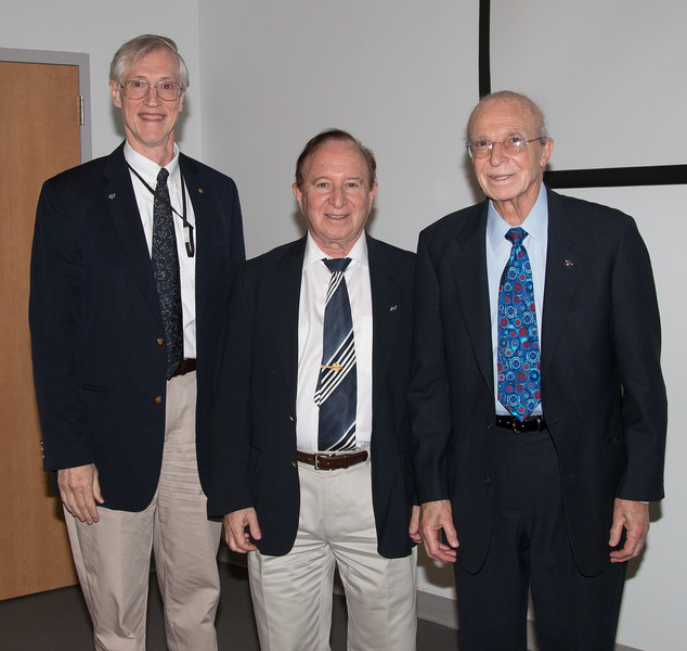 The three honorees: John, Floyd, and Peter -- NASA/GSFC Career Celebration for John Mather (40 years), Floyd Stecker (50 years), and Peter Serlemitsos (55 years), Greenbelt, Nov 17, 2016.