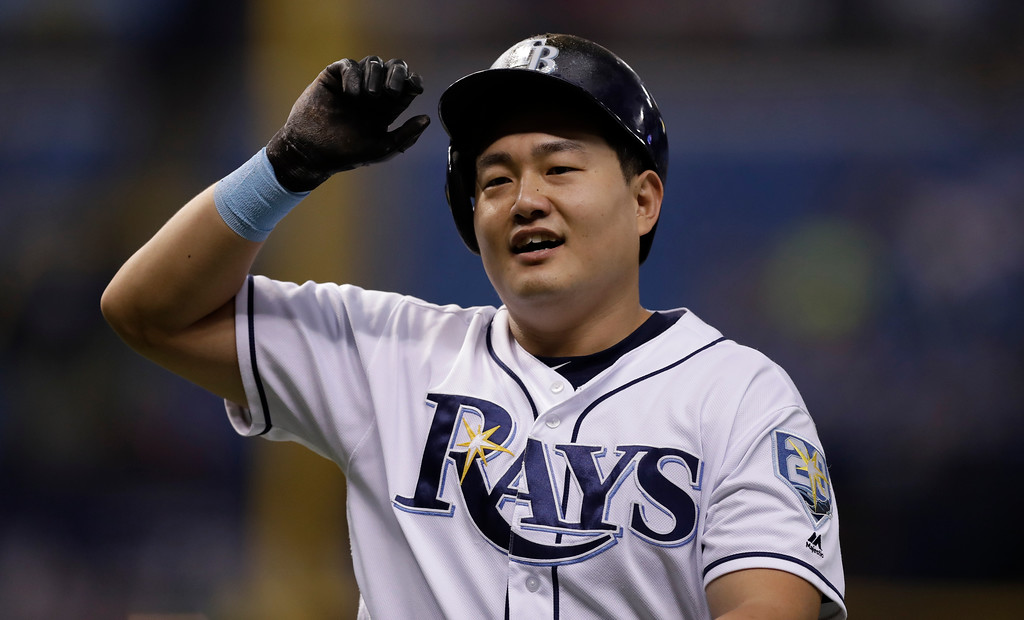 . Tampa Bay Rays\' Ji-Man Choi, of South Korea, during the second inning of a baseball game against the Cleveland Indians Monday, Sept. 10, 2018, in St. Petersburg, Fla. (AP Photo/Chris O\'Meara)