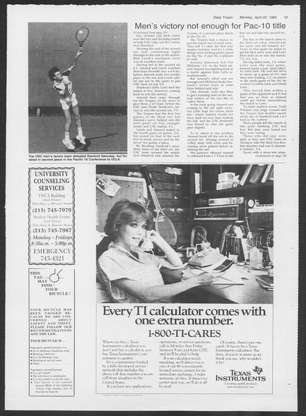 Daily Trojan, Vol. 98, No. 64, April 22, 1985