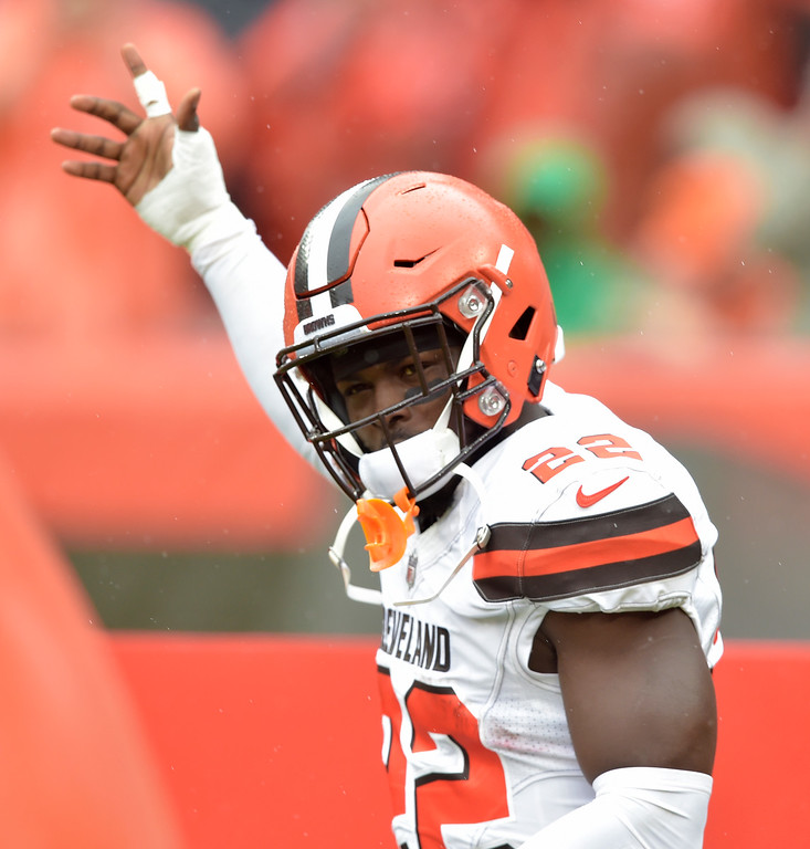. Cleveland Browns defensive back Jabrill Peppers (22) is introduced before an NFL football game between the Cleveland Browns and the Pittsburgh Steelers, Sunday, Sept. 9, 2018, in Cleveland. (AP Photo/David Richard)