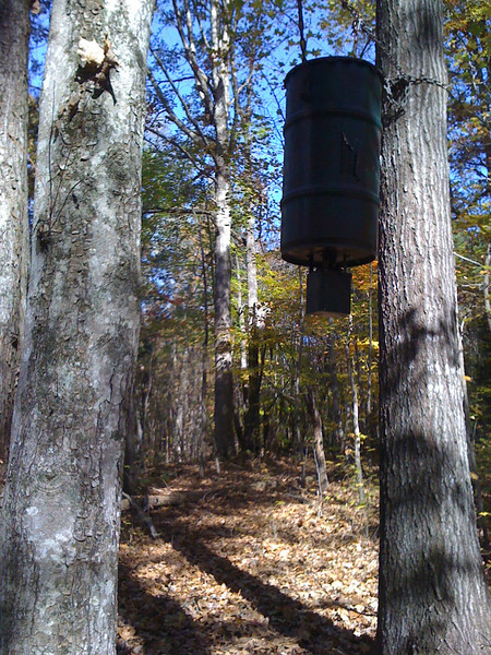 This deer feeder was on our property when we bought it. Can you see the stand?